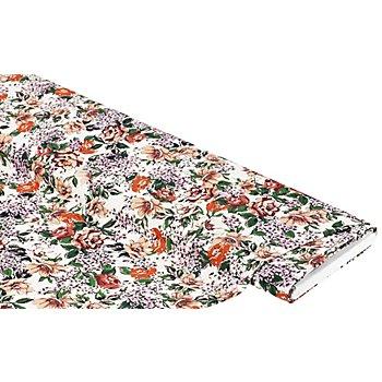 Viskose-Crêpe 'Blumen', natur-color