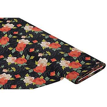 Bio-Popeline 'Japan-Blumen' schwarz color