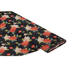 Tissu popeline biologique 'fleurs japonaises', noir multicolore