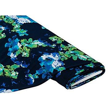 Slinky-Jersey 'Blumen', blau/grün