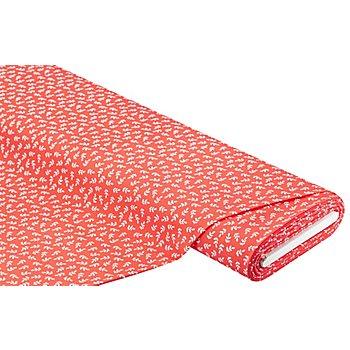Tissu maillot de bain 'branches', corail/blanc
