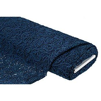 Tissu dentelle avec applications en cordelettes, bleu