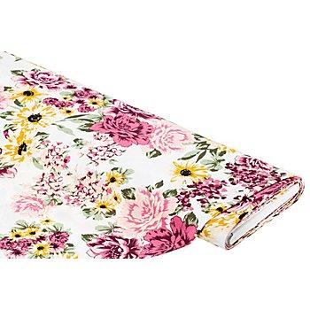 Crêpe 'Blumen', elfenbein/rosa