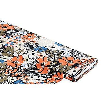Tissu crêpe 'léopard & fleurs', multicolore