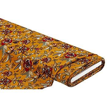 Viskose-Blusenstoff 'Blumen', ocker-color