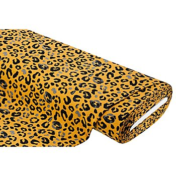 Tissu sweat-shirt 'léopard', ocre/noir