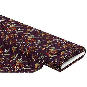 Viskose-Blusenstoff 'Blumen', aubergine-color