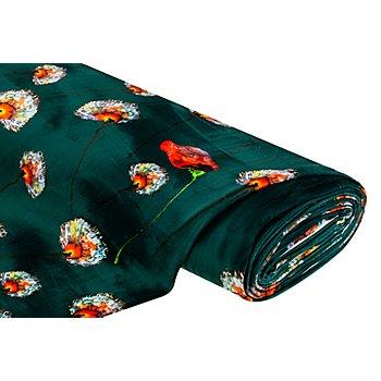 Stretch-Samt 'Blumen', dunkelgrün-color