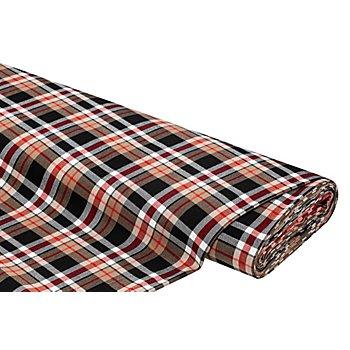Stretch-Webkaro, kamel/rot/schwarz