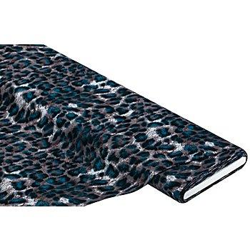 Tissu javanaise 'motif animalier', gris/pétrole