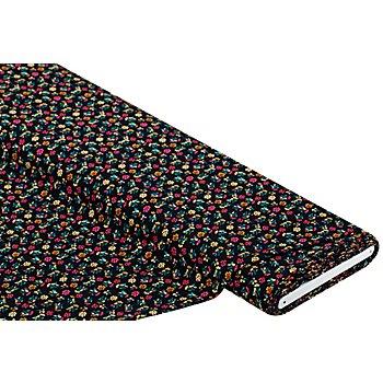 Tissu javanaise 'petites fleurs', noir multicolore