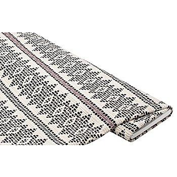 Tissu 'motif norvégien', noir/blanc délavé