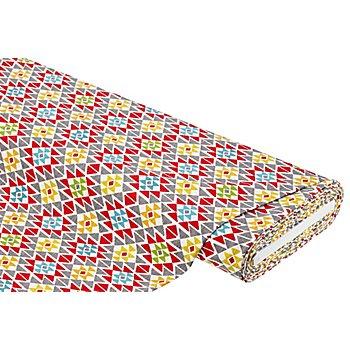 Baumwolljersey 'Rauten' mit Elasthan, rot/grau/gelb