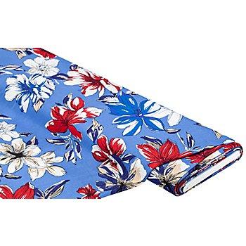 Blusenstoff 'Blumen', blau-color