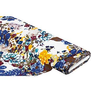 Viskose-Leinen-Mischgewebe, weiß/bunt