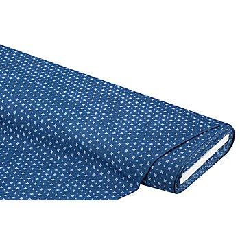 Elastik-Jeans 'Graphisch', blau/weiß