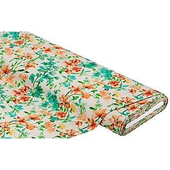 Leinen-Viskose 'Blumen', natur-color