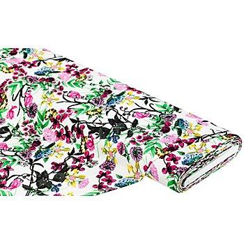 Tissu mélange viscose/lin 'fleurs & plantes', multicolore