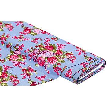 Tissu mélange viscose/lin 'bouquet de roses', bleu multicolore