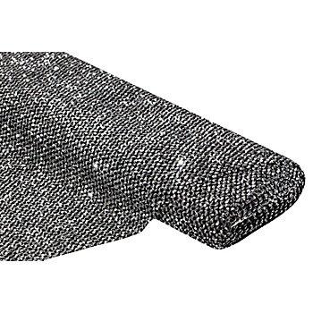 Elastikstoff mit Pailletten, schwarz/silber