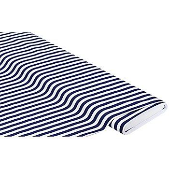Tissu coton/polyester extensible 'rayures', bleu marine/blanc