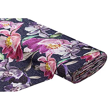 Tissu maille scintillant 'fleur', bleu multicolore
