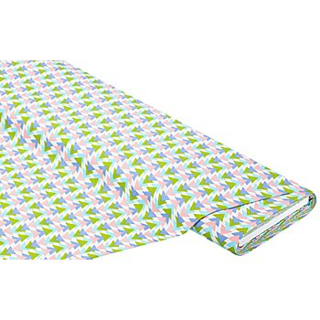 Baumwollstoff 'Dreiecke', weiss/grün