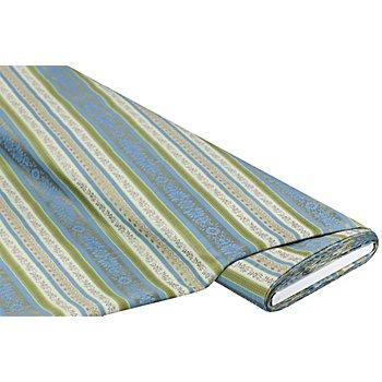 Tissu jacquard 'bordures', bleu/vert