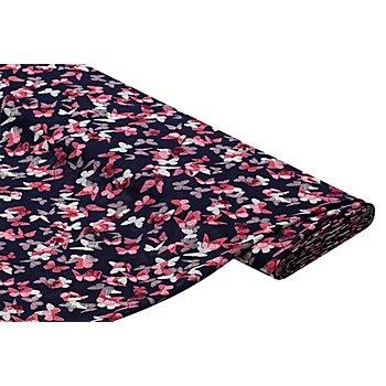 Tissu chiffon 'papillons', bleu foncé/rose vif