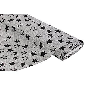 Feinstrick 'Sternen-Stempel', grau-meliert/grau