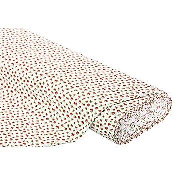 Baumwolljersey 'kleine Röschen' mit Elasthan, rot-color