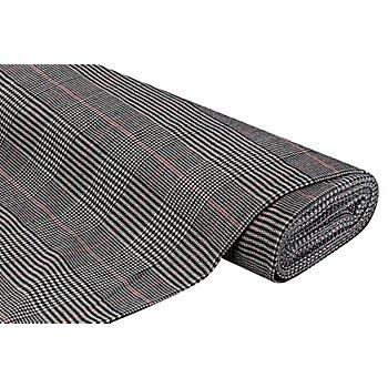 Tissu pour manteaux 'Glencheck' avec de la laine, noir/blanc