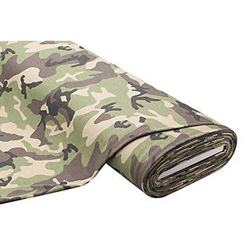 Tissu sweat-shirt 'camouflage', vert/marron