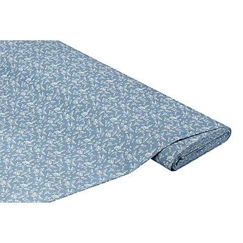 Tissu coton 'fleurs', bleu ciel