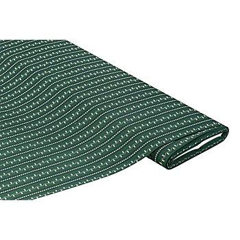 Tissu coton 'ramages de fleurs', vert foncé/noir