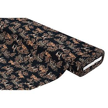 Tissu jersey en coton 'motif animalier' avec de l'élasthanne, noir multicolore