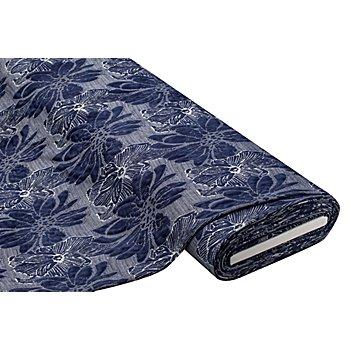 Jacquard-Jersey 'Blüte', dunkelblau-color