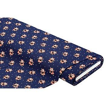 Tissu jersey en coton 'effet phosphorescent - monstre' avec de l'élasthanne, bleu marine multic