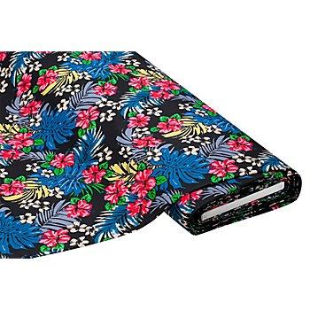 Tissu gabardine extensible 'fleurs', noir multicolore