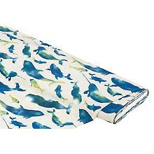 Badeshorts-Stoff 'Delfine & Wale', natur/blau