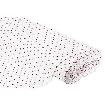 Tissu jersey en coton 'baies & cœurs', blanc/rouge