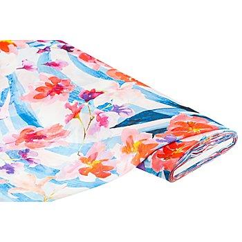 Tissu chiffon 'fleurs', rouge/bleu