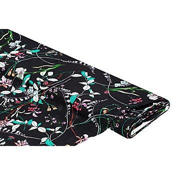 Viskose-Leinen 'Blumen', schwarz-color
