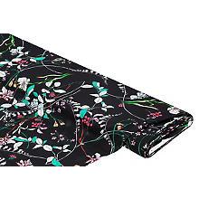 Tissu viscose-lin 'fleurs', noir multicolore
