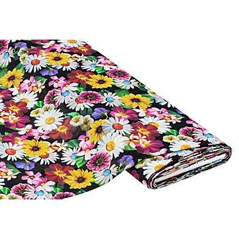 Crêpe 'Blumen' Digitaldruck, bunt