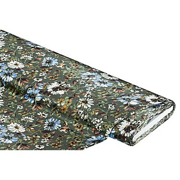 Blusen-Satin 'Blumen', khaki-color