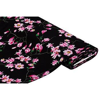 Crêpe 'Blumenprint', schwarz/pink