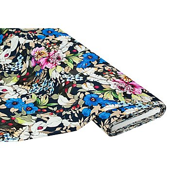 Viskose-Jersey 'Blumen', nachtblau-color