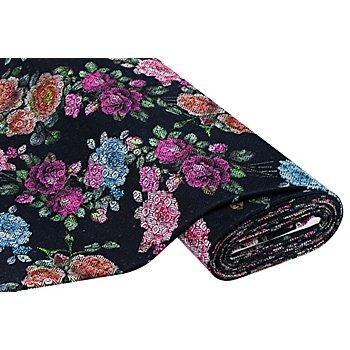 Tissu jersey jacquard 'fleurs', bleu nocturne multicolore