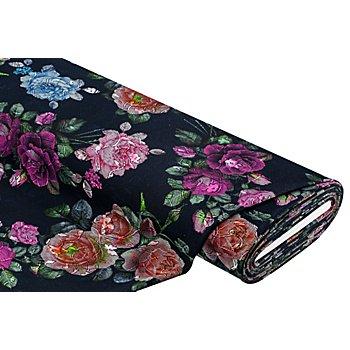 Jacquard-Jersey 'Blumen', dunkelblau-color